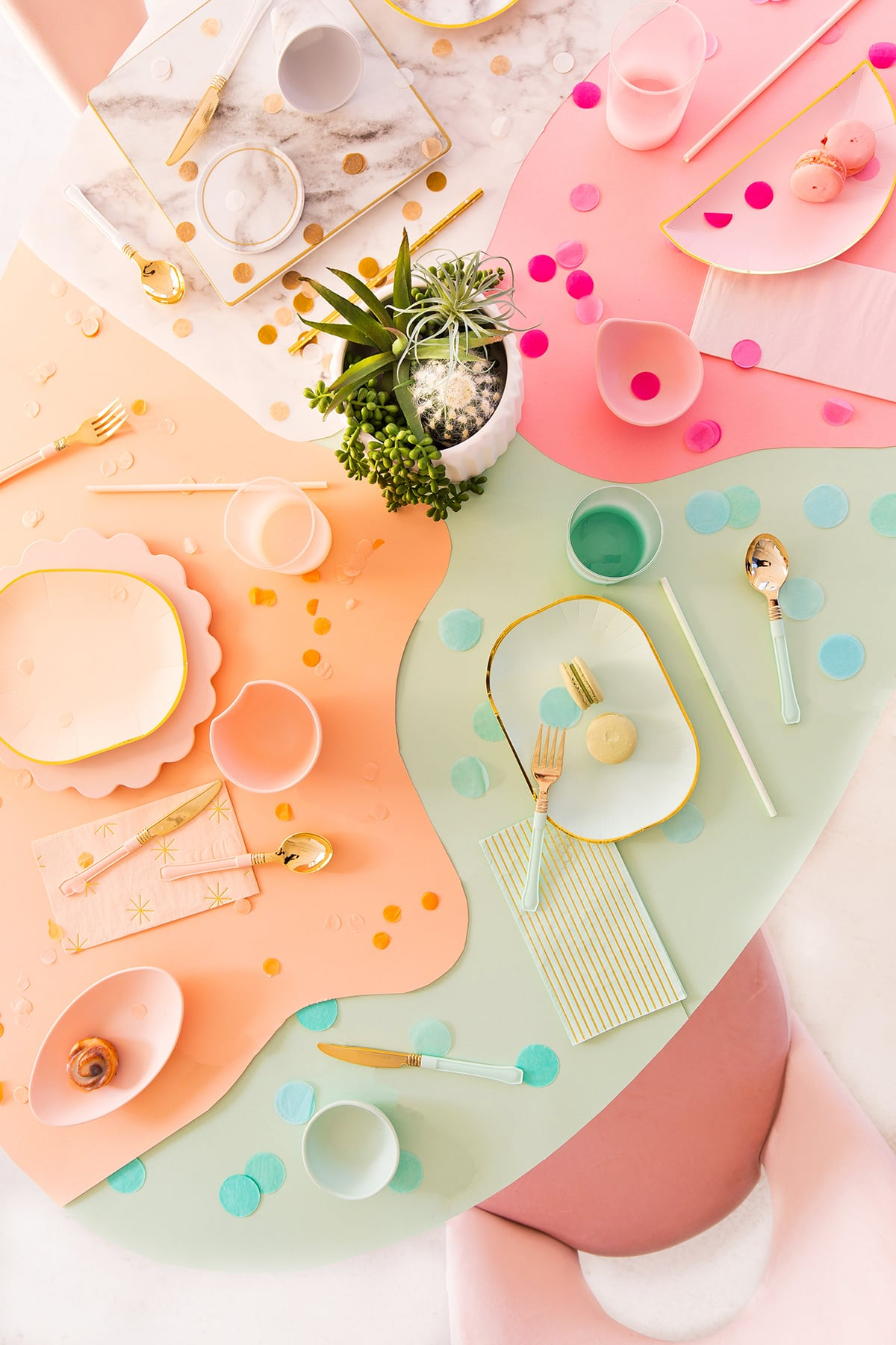 DIY Paper Color Block Table Covering