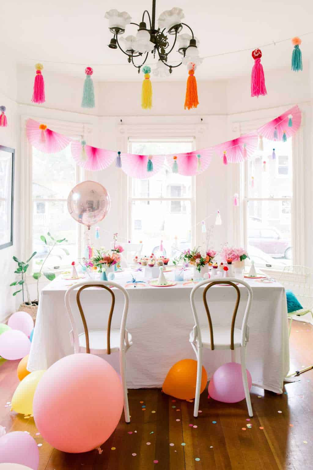 A Colorful Pom Pom Birthday Party