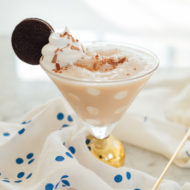 Frozen Cookies and Cream Polka Dot Martinis Recipe by top Houston lifestyle blogger Ashley Rose of Sugar and Cloth #recipe #cocktail #martini #frozendrinks