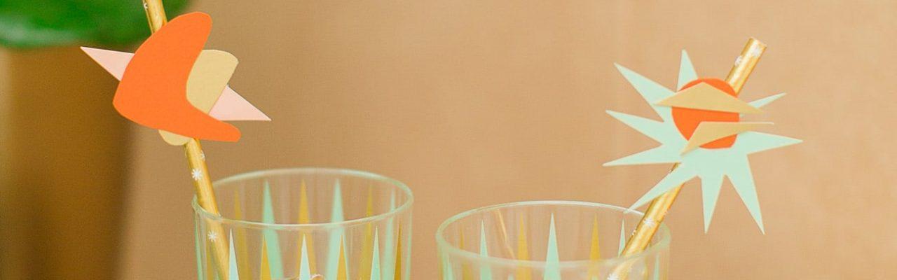 DIY Mid Century Straw Drink Stirrers by top Houston lifestyle blogger Ashley Rose of Sugar & Cloth