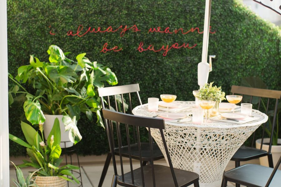 Boxwood Wall & DIY Neon Sign by top houston lifestyle blogger Ashley Rose of Sugar & Cloth