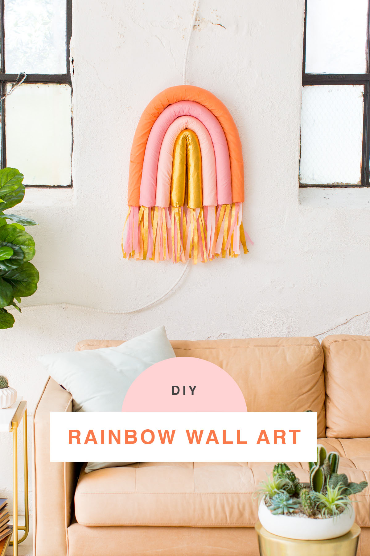 DIY Rainbow Art Wall Hanging by top Houston lifestyle blogger Ashley Rose of Sugar and Cloth #wallart #homedecor #diy #rainbow #decor #parties #partydecor