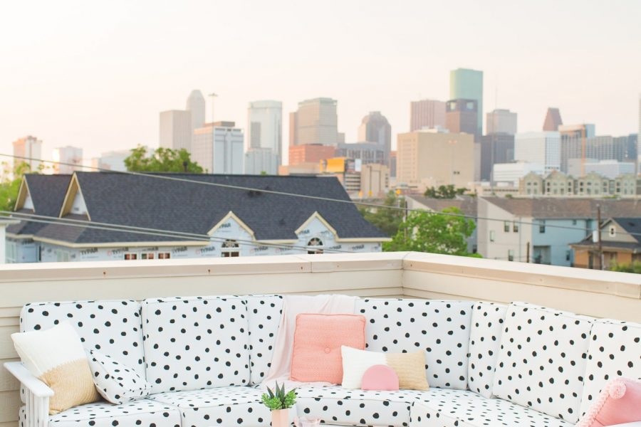 Our Downtown Rooftop Patio Makeover Reveal by top Houston lifestyle blogger Ashley Rose of Sugar & Cloth #makeover #beforeandafter #design #homedecor