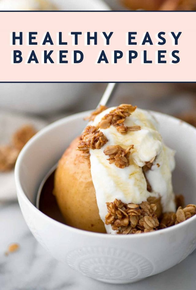photo of a stuffed baked apple recipe with text header