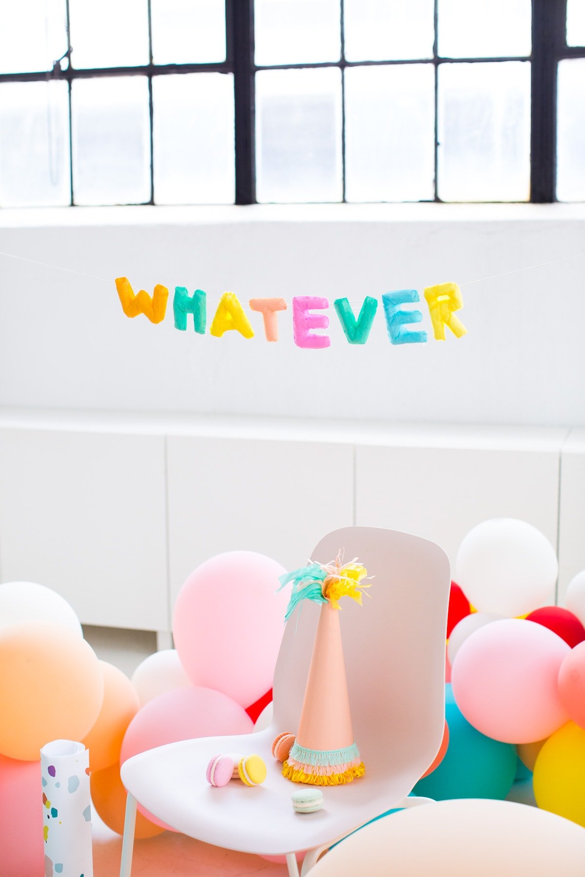 whatever! letter balloons that won't deflate - Faux Balloon DIY Letter Garland by Houston lifestyle blogger Ashley Rose of Sugar and Cloth #diy #balloons #balloongarland #garland #decor #party #ideas #howto