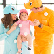 mama hippo, baby hippo, and daddy hippo! loading up the crazy amount of baby gear! Our Family DIY Hungry Hippos Costume Idea -- by Top Houston blogger Ashley Rose of Sugar and Cloth -- #costumes #halloween #ideas #family #familycostume #diy
