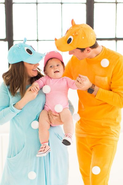 photo of the family in their costumes inspired by the hungry hippo game