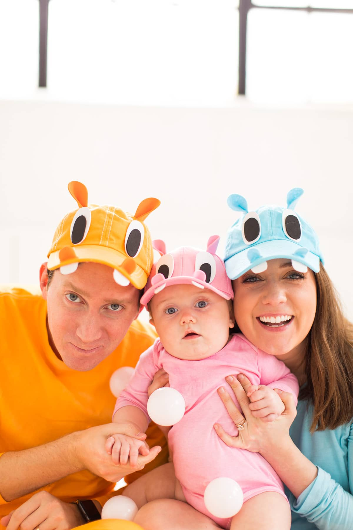 the full hippo gang! loading up the crazy amount of baby gear! Our Family DIY Hungry Hippos Costume Idea -- by Top Houston blogger Ashley Rose of Sugar and Cloth -- #costumes #halloween #ideas #family #familycostume #diy