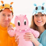 photo of the family in their DIY hungry hippos costume