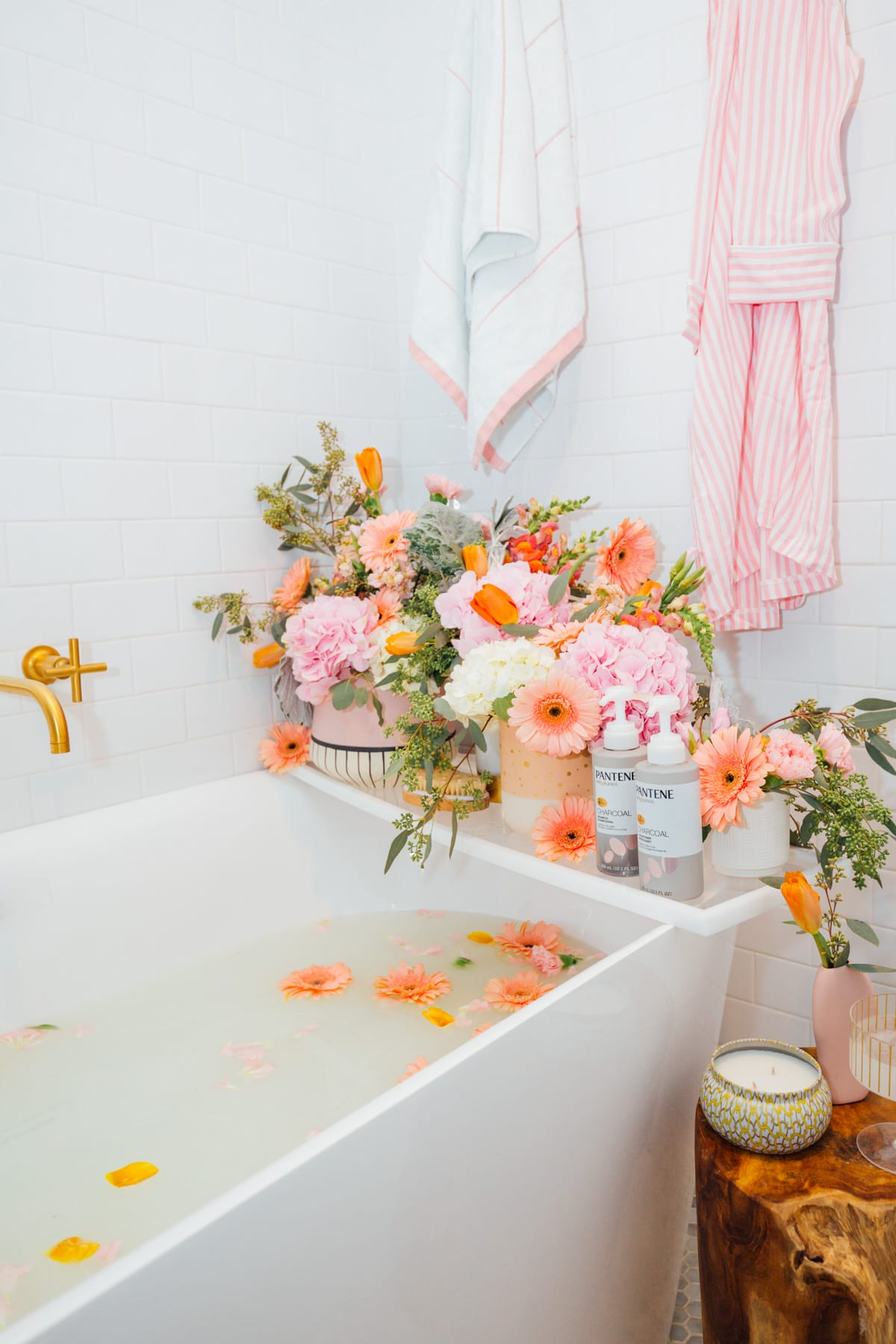 a flower milk bath and pantene charcoal shampoo and conditioner - My Easy Self-Care Tips for Feeling Confident in Yourself (Especially After Baby) - by top Houston lifestyle blogger Ashley Rose of Sugar and Cloth #beauty #tips #selfcare #hair #hairstyles #florals #flowers #showers