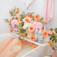 kicking back in a flower milk bath - My Easy Self-Care Tips for Feeling Confident in Yourself (Especially After Baby) - by top Houston lifestyle blogger Ashley Rose of Sugar and Cloth