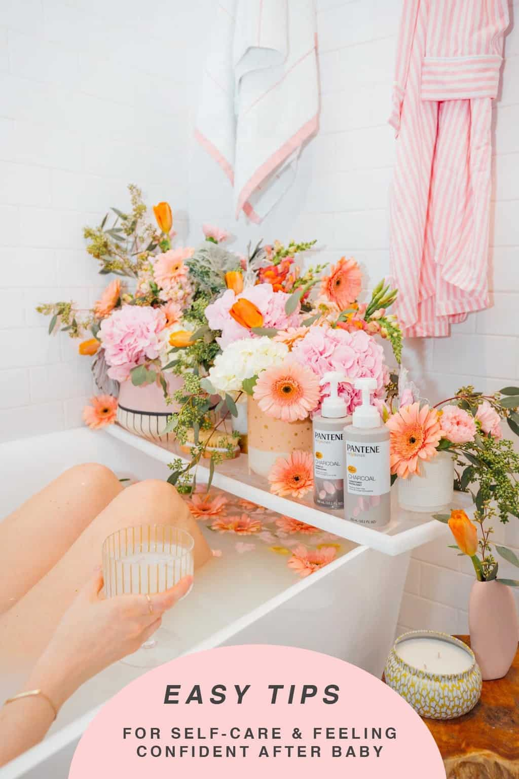 kicking back in a flower milk bath - My Easy Self-Care Tips for Feeling Confident in Yourself (Especially After Baby) - by top Houston lifestyle blogger Ashley Rose of Sugar and Cloth #beauty #tips #selfcare #hair #hairstyles #florals #flowers #showers