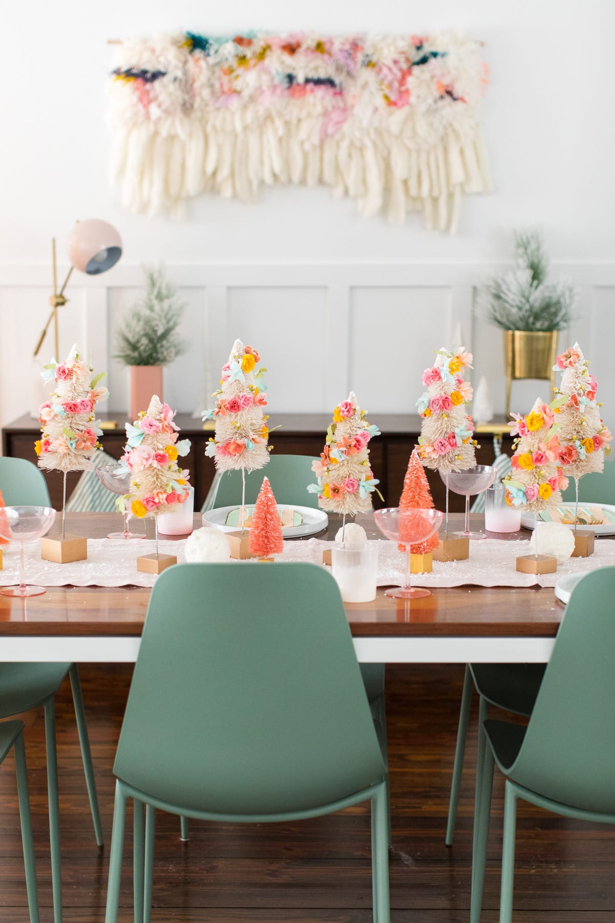 a unique christmas table runner idea - Faux Flower Bottle Brush Tree DIY Christmas Centerpiece Idea by top Houston lifestyle blogger Ashley Rose of Sugar and Cloth #diy #christmas #decor #howto #craft #entertaining #centerpiece #ideas