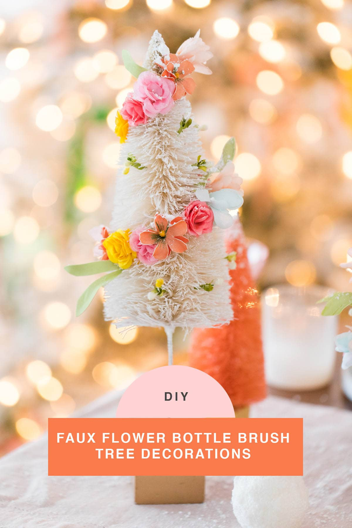 the how to for these Faux Flower Bottle Brush Tree DIY Christmas Centerpiece Idea by top Houston lifestyle blogger Ashley Rose of Sugar and Cloth #diy #christmas #decor #howto #craft #entertaining #centerpiece #ideas