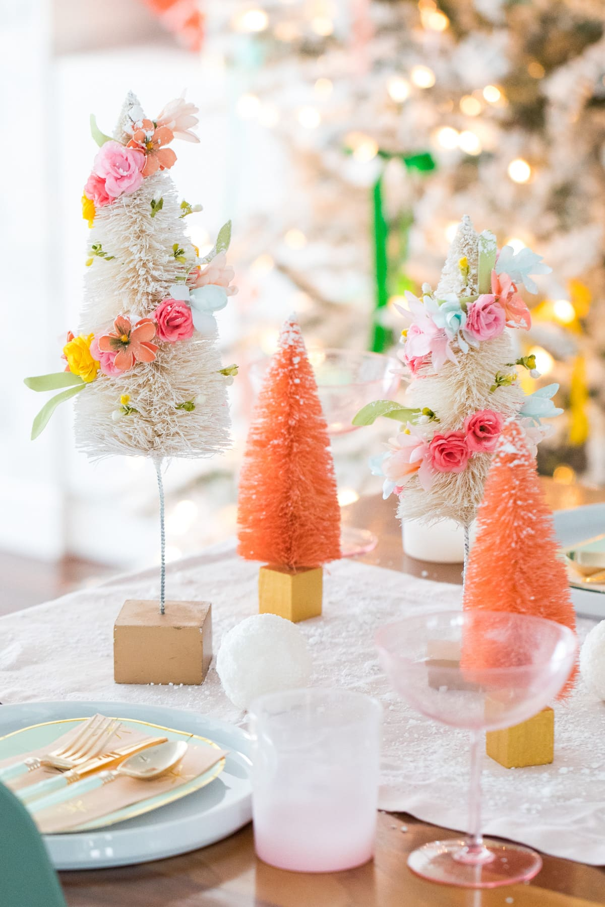 mix them with other color trees -- Faux Flower Bottle Brush Tree DIY Christmas Centerpiece Idea by top Houston lifestyle blogger Ashley Rose of Sugar and Cloth #diy #christmas #decor #howto #craft #entertaining #centerpiece #ideas