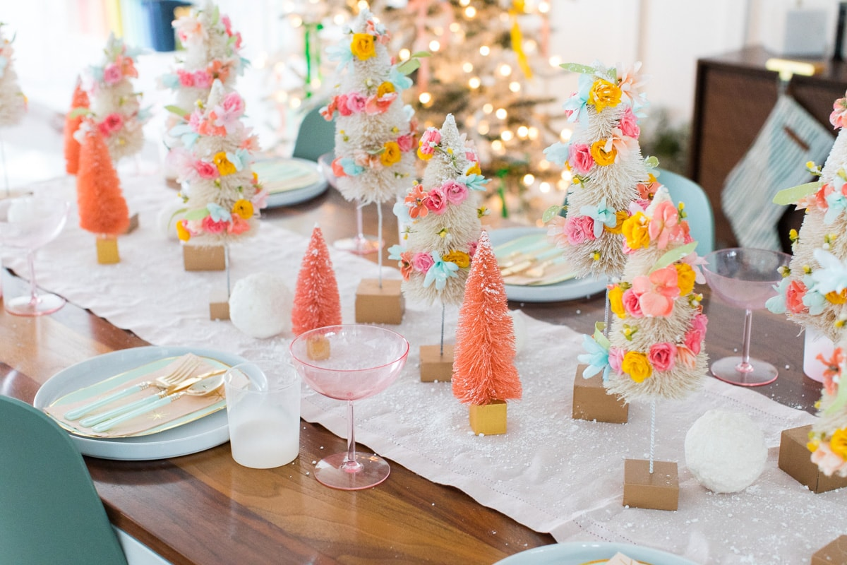 combine them with a full tablescape - Faux Flower Bottle Brush Tree DIY Christmas Centerpiece Idea by top Houston lifestyle blogger Ashley Rose of Sugar and Cloth #diy #christmas #decor #howto #craft #entertaining #centerpiece #ideas