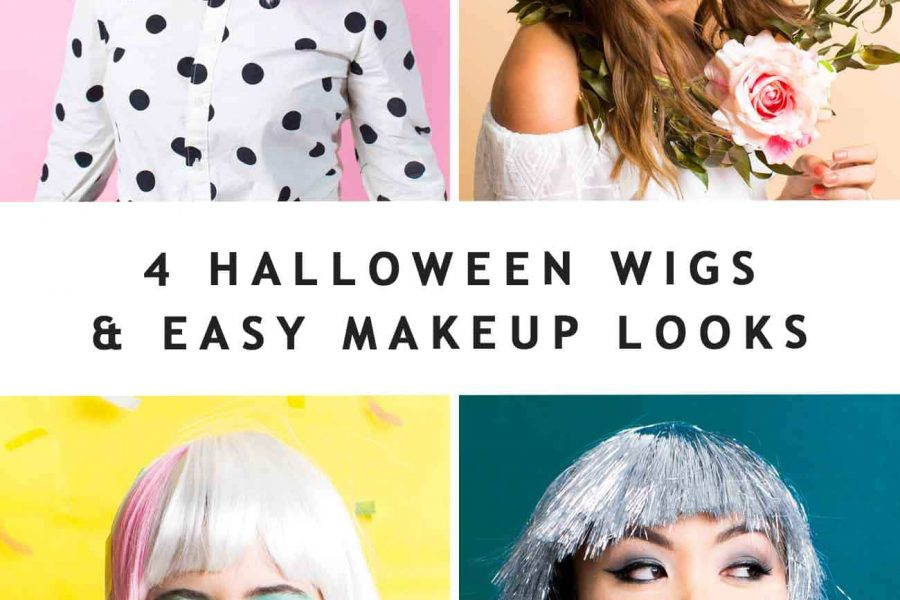 photo of 4 girls in halloween wigs with text on it by sugar and cloth