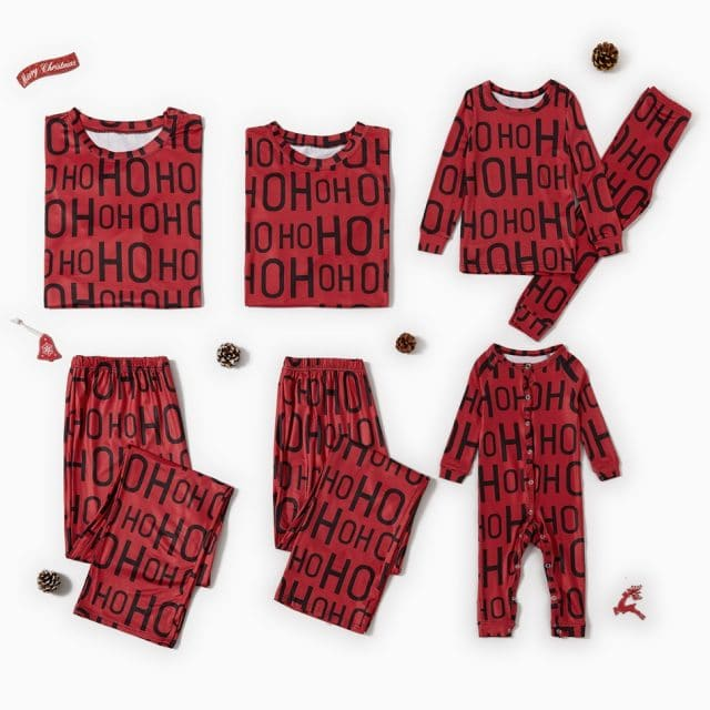 photo of the Family Matching 'OH' Letter Print Christmas Pajamas Set by PatPat
