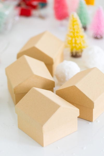 transforming blank cardboard houses - Colorful Houses DIY Advent Calendar by top Houston lifesyle blogger Ashley Rose of Sugar and Cloth #diy #christmas #advent #holiday #decor #idea #howto #kids #crafts