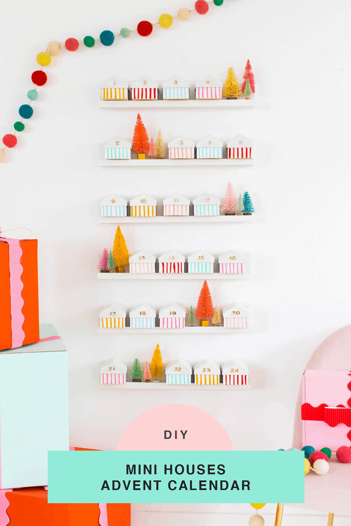 styled Christmas houses! Colorful Houses DIY Advent Calendar by top Houston lifesyle blogger Ashley Rose of Sugar and Cloth #diy #christmas #advent #holiday #decor #idea #howto #kids #crafts