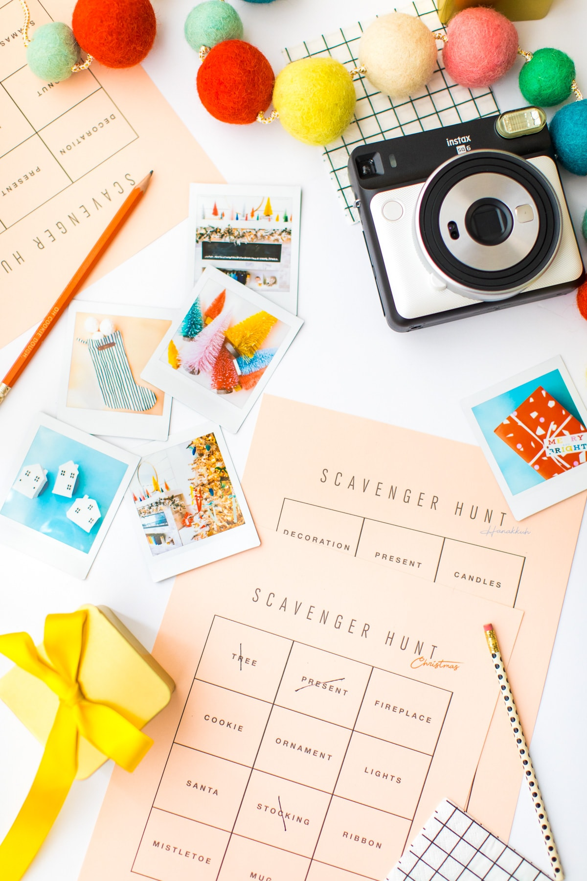 printable Christmas and Hanukkah scavenger hunt cards! it's a holiday instax party! A Party Scavenger Hunt Game Kids Activity by top Houston lifestyle blogger Ashley Rose of Sugar & Cloth #DIY #printable #game #ideas #kids #activity #holiday #christmas #scavengerhunt