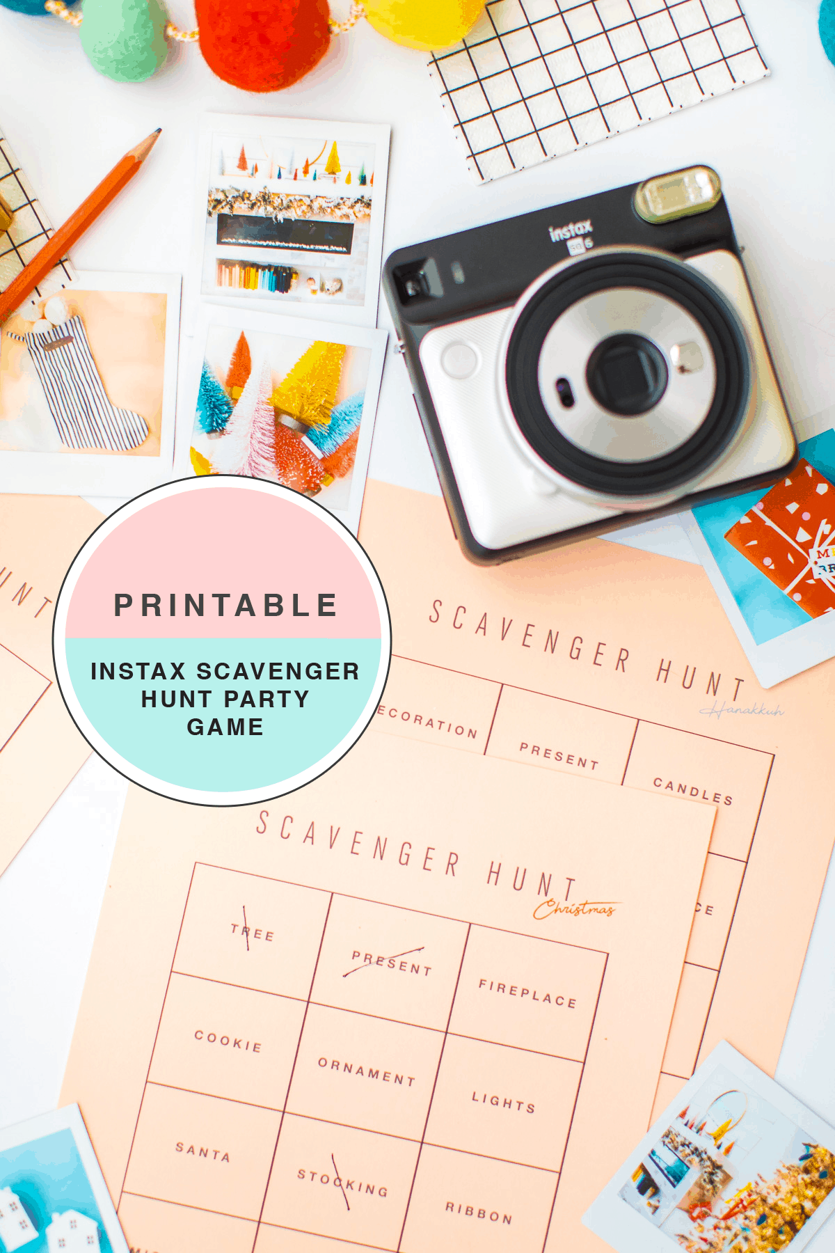 DIY printable blank scavenger hunt cards or for the holidays too! it's a holiday instax party! A Party Scavenger Hunt Game Kids Activity by top Houston lifestyle blogger Ashley Rose of Sugar & Cloth #DIY #printable #game #ideas #kids #activity #holiday #christmas #scavengerhunt