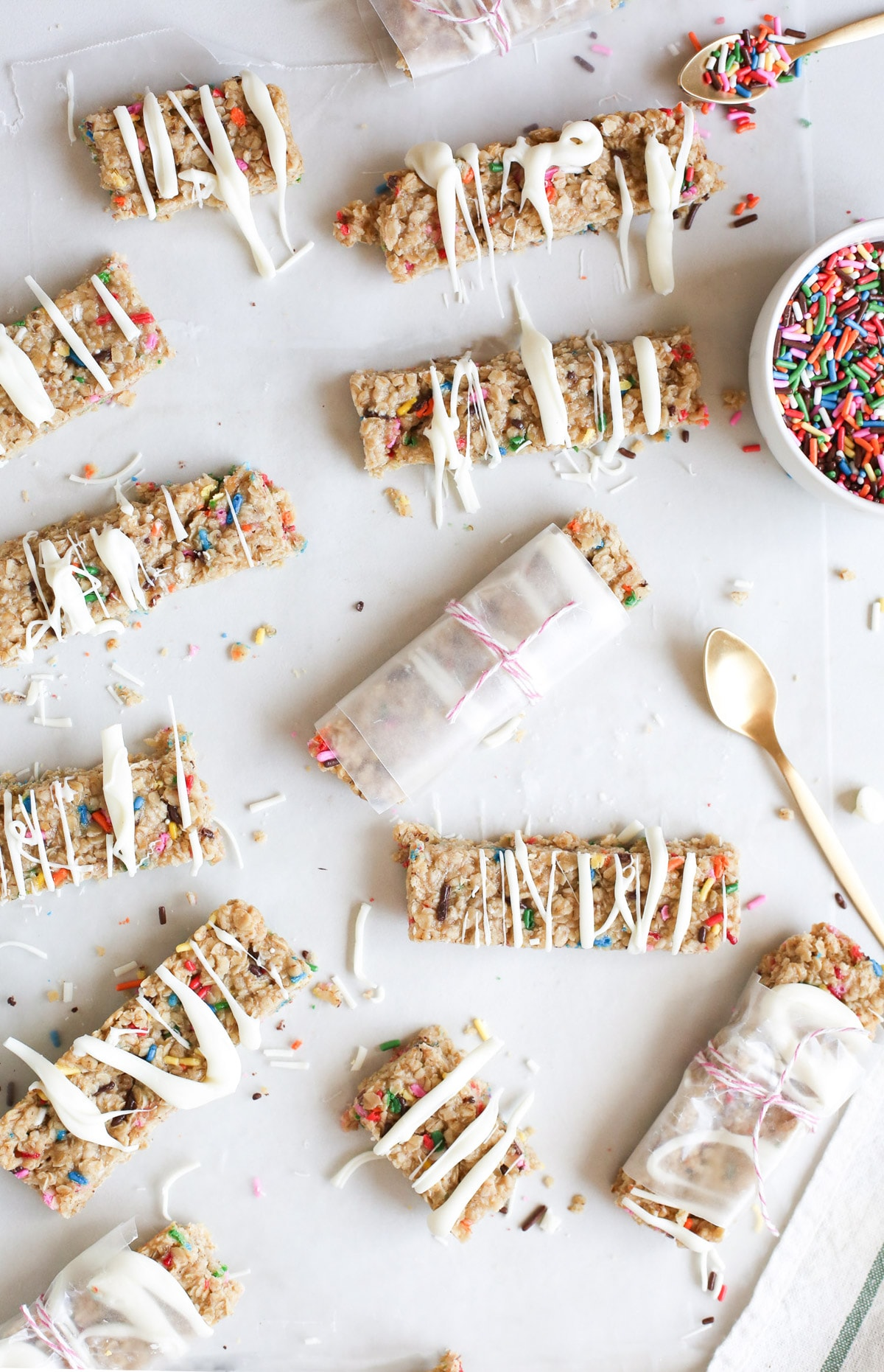 photo of the Funfetti Granola Bars wrapped to bring on the go by top Houston lifestyle blogger Ashley Rose of Sugar & Cloth
