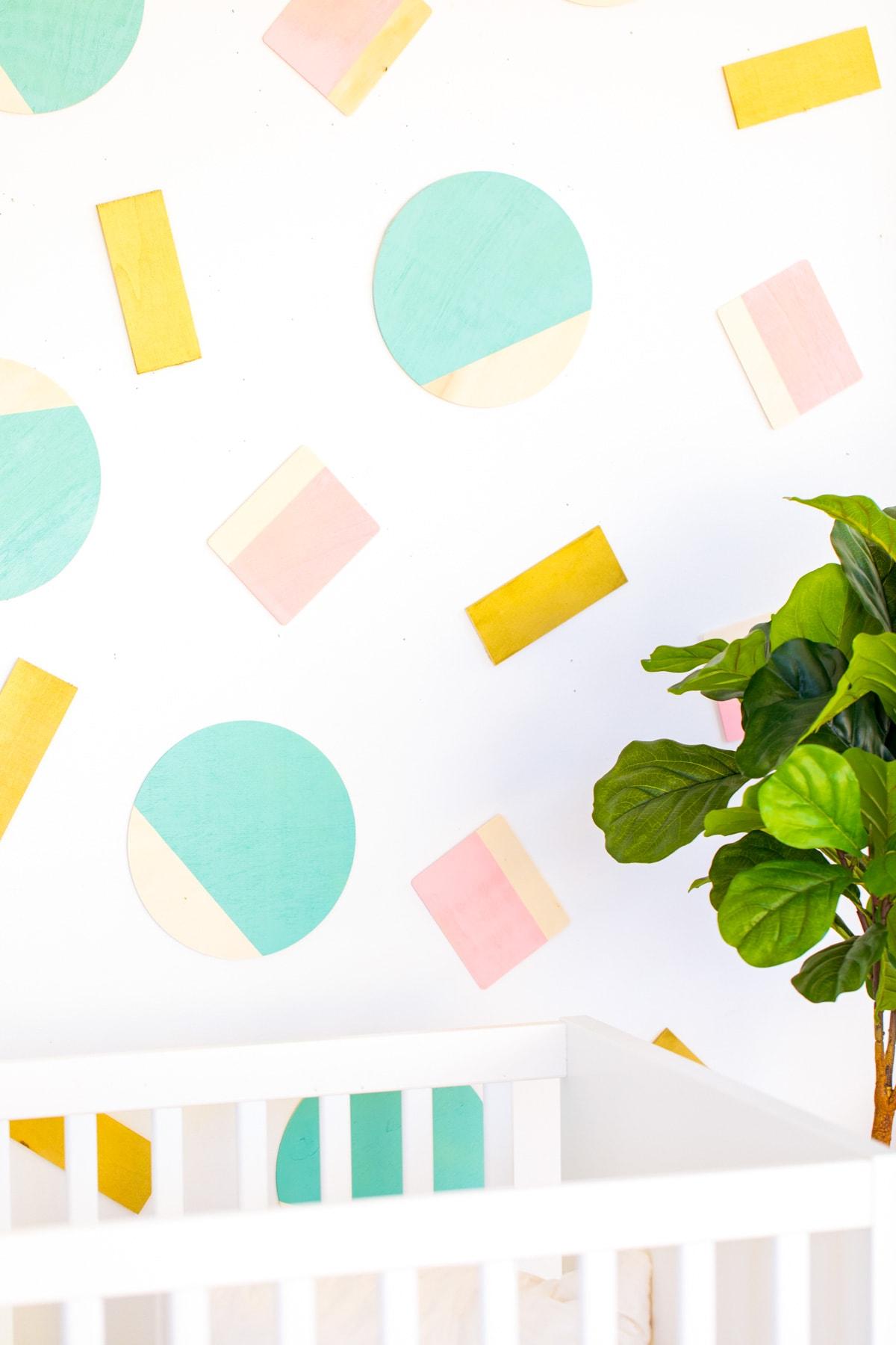 Abstract Shapes DIY Wall Decor by Houston lifestyle blogger Ashley Rose of Sugar and Cloth -- #DIYBABYROOMDECOR #KRYLON #SPRAYPAINTPROJECT #NURSERYIDEAS