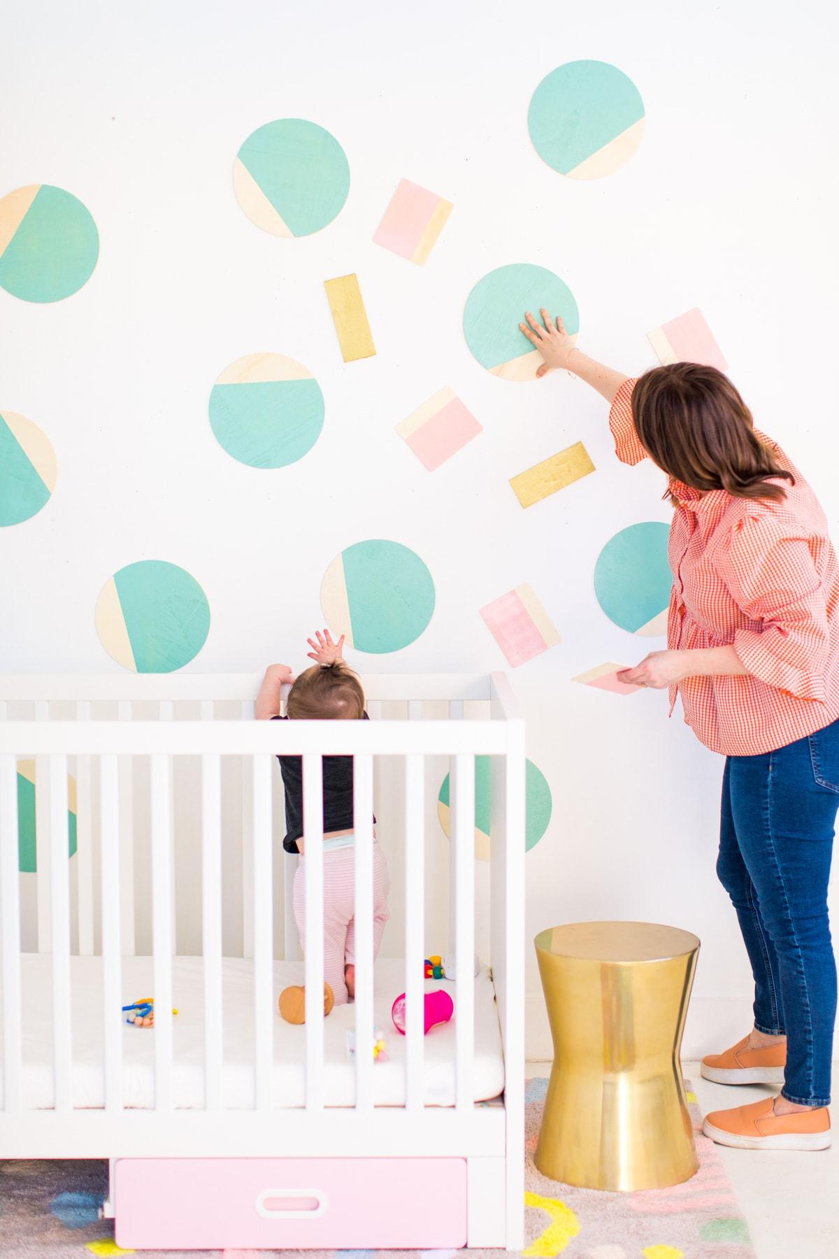 DIY Nursery Wall Decor by Houston lifestyle blogger Ashley Rose of Sugar and Cloth -- #DIYBABYROOMDECOR #KRYLON #SPRAYPAINTPROJECT #NURSERYIDEAS