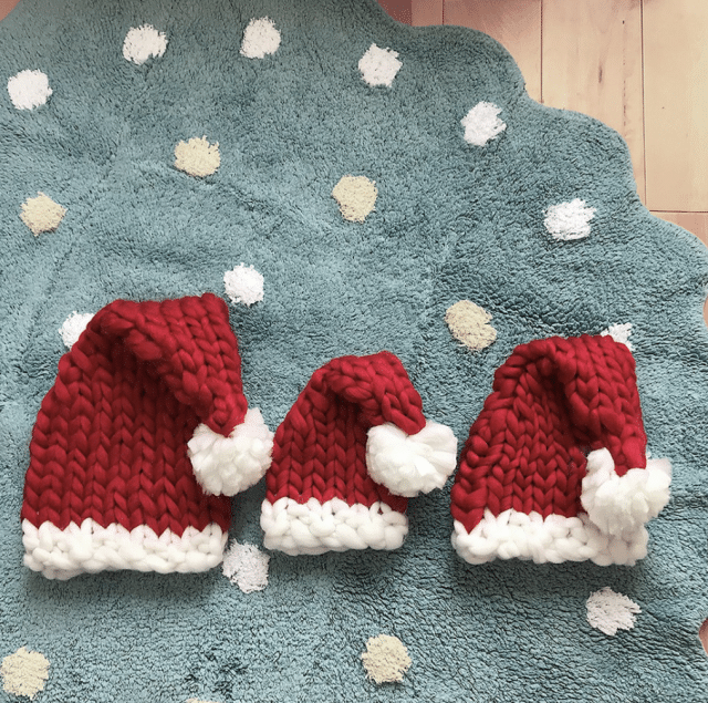 photo of Hand-knitted Christmas Hats for Family by PatPat
