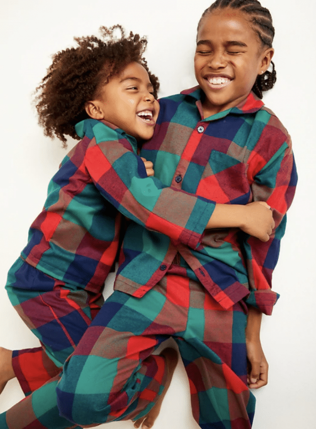 photo of unisex patterned plaid pajamas from old navy