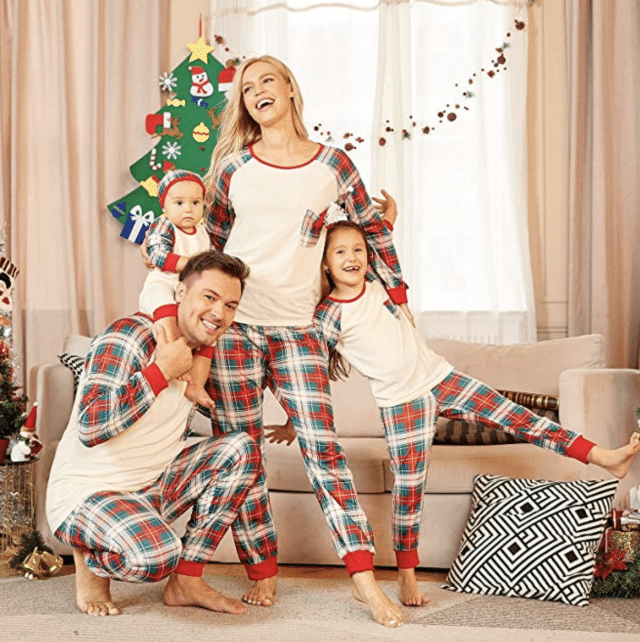 photo of traditional buffalo plaid pjs for the family