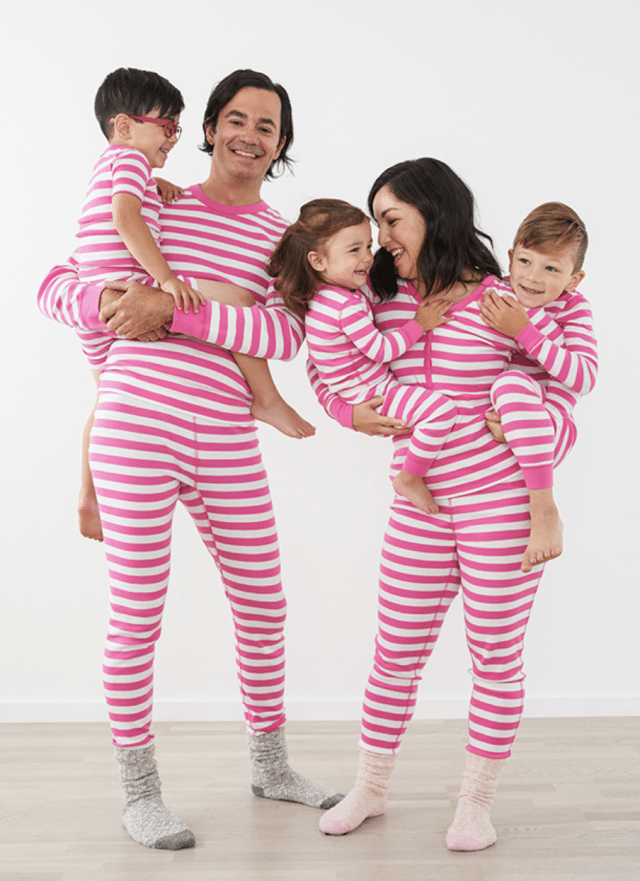 photo of the hanna andersson power pink matching family pajamas set