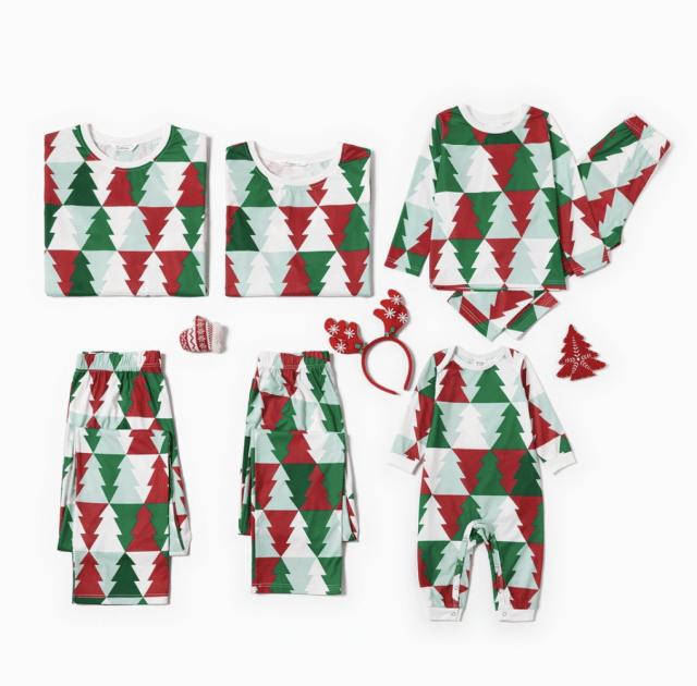 photo of christmas tree family pajamas