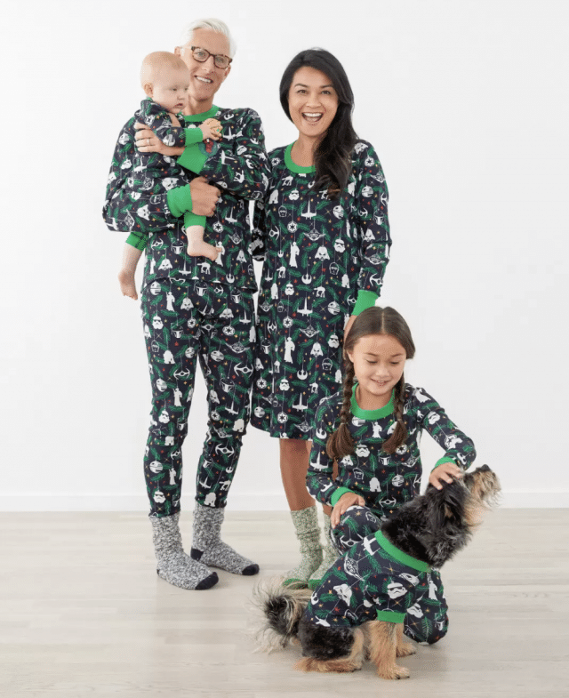 photo of the matching star wars christmas pajamas for the family