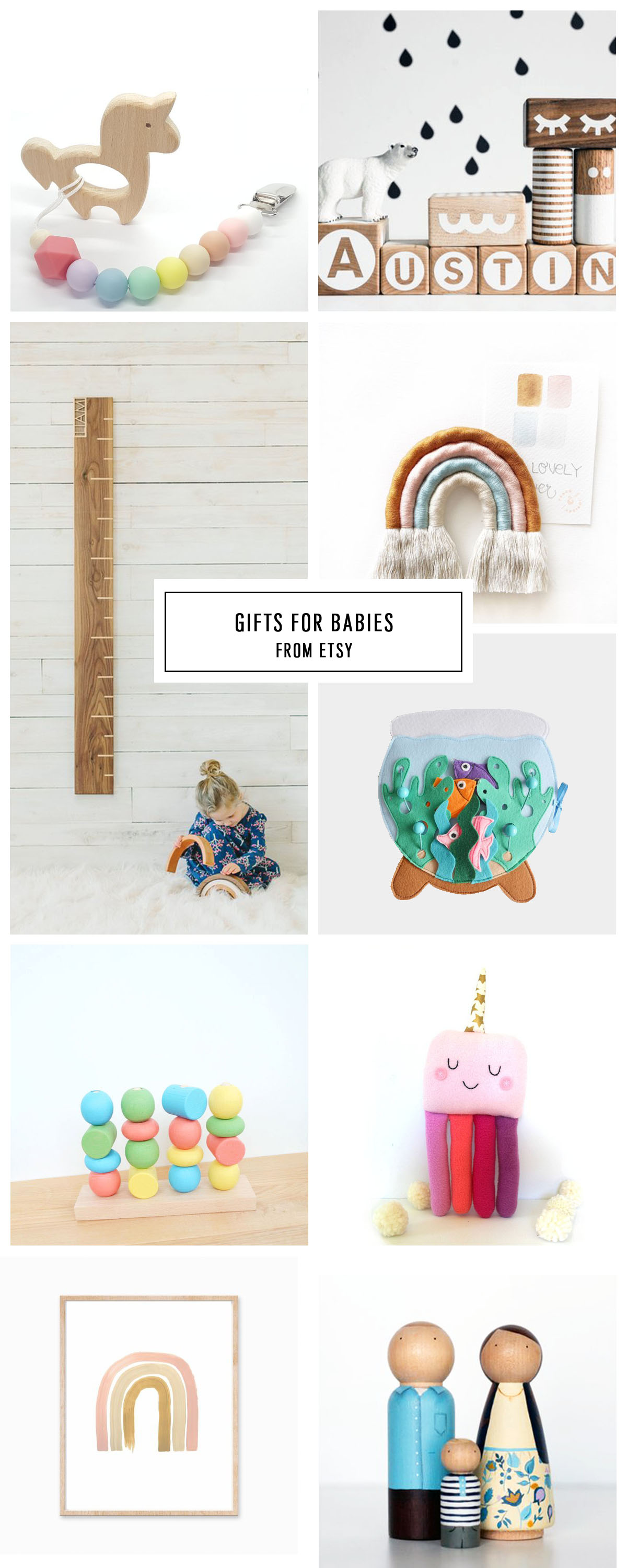 COMPLETE ETSY GIFT GUIDE FOR BABIES UNDER $75 by Houston lifestyle blogger Ashley Rose of Sugar and Cloth -- #giftguide #christmas #entertaining #holidaygifts #presents