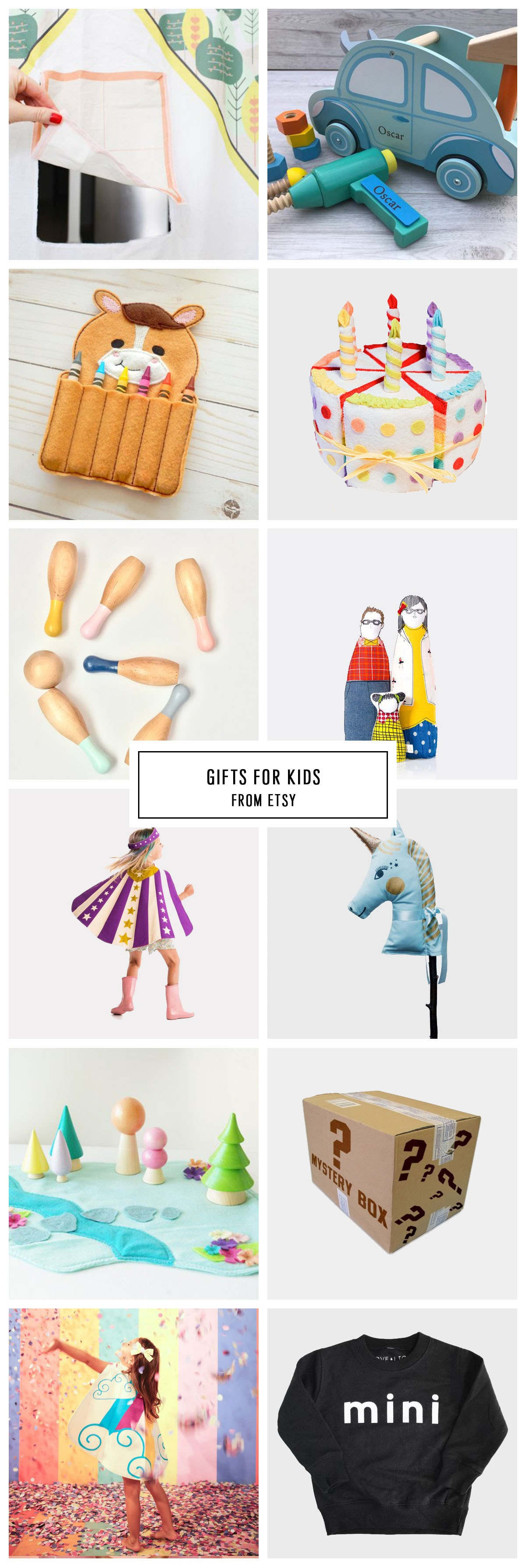 COMPLETE ETSY GIFT GUIDE FOR KIDS UNDER $75 by Houston lifestyle blogger Ashley Rose of Sugar and Cloth -- #giftguide #christmas #entertaining #holidaygifts #presents