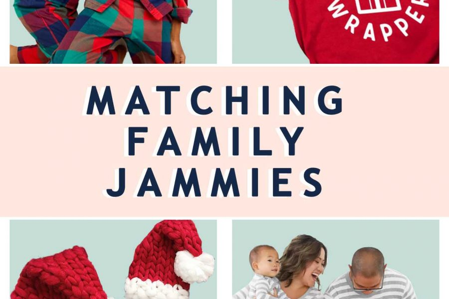 a graphic of four different matching family pajamas ideas