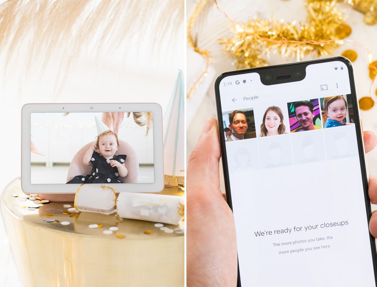 Sharing photos via Live Albums and google hub! Pampas Grass DIY Photo Backdrop by top Houston lifestyle blogger Ashley Rose of Sugar & Cloth #diy #nye #backdrop #photography #photos #google #holidays #howto #weddings #parties #entertaining