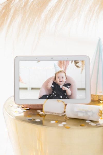 Sharing photos via Live Albums and google hub! Pampas Grass DIY Photo Backdrop by top Houston lifestyle blogger Ashley Rose of Sugar & Cloth #diy #nye #backdrop #photography #photos #google #holidays #howto #weddings #parties #entertaining