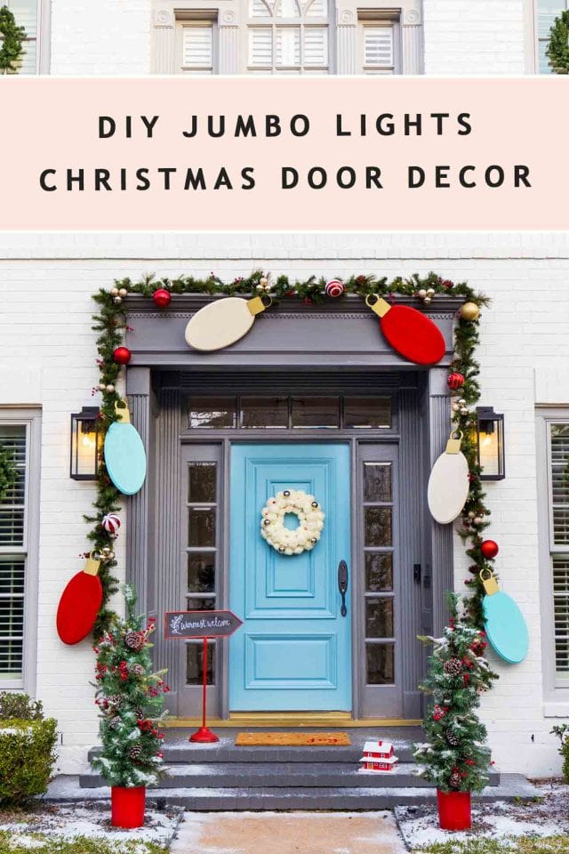 photo of a christmas garland front door by sugar and cloth