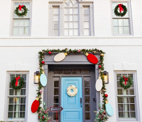 house goals for christmas! Jumbo Lights Outdoor DIY Christmas Decorations! by top Houston lifestyle blogger Ashley Rose of Sugar & Cloth #DIY #howto #christmas #holidays #decorations #decor #home #frontdoor #entrance