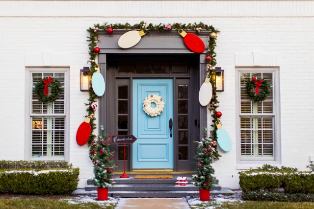 horizontal photo of DIY christmas front door decor
