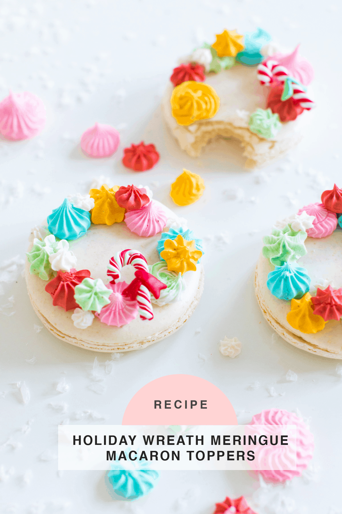 finished macarons How to Make Holiday Wreath Meringue Macarons by top Houston lifestyle blogger Ashley Rose of Sugar & Cloth #holiday #cookies #meringues #wreath #christmas #ideas