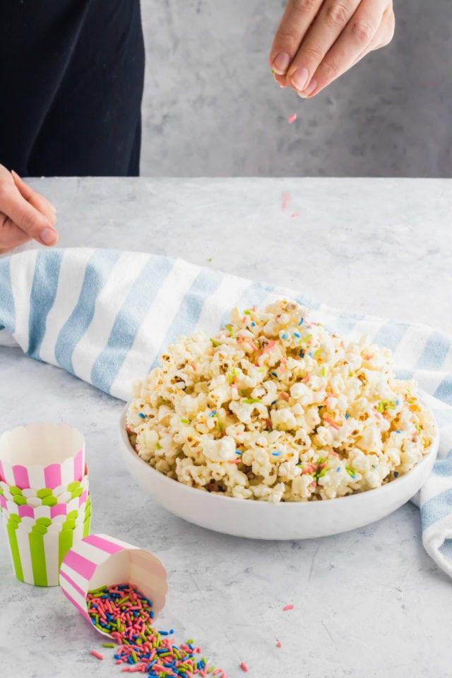 diy white chocolate funfetti popcorn by top Houston lifesyle blogger Ashley Rose of Sugar and Cloth #recipes #entertaining #idea