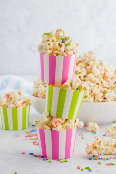 holiday white chocolate funfetti popcorn by top Houston lifesyle blogger Ashley Rose of Sugar and Cloth #recipes #entertaining #idea