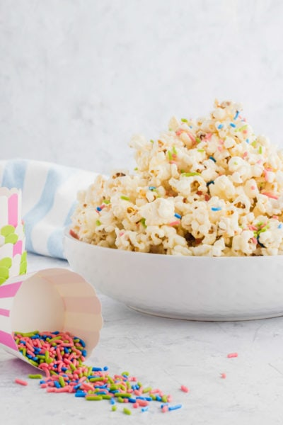 white chocolate funfetti popcorn by top Houston lifesyle blogger Ashley Rose of Sugar and Cloth #recipes #entertaining #idea