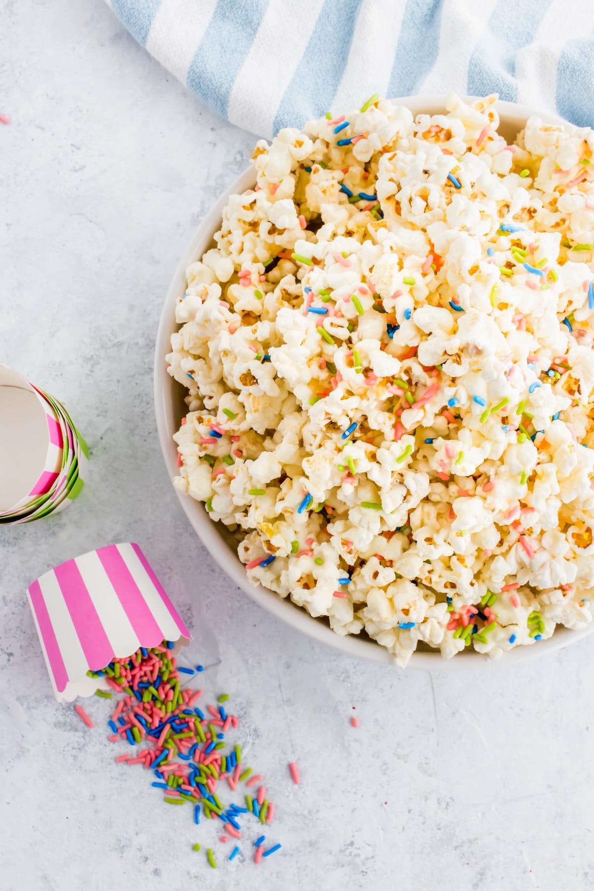 birthday white chocolate funfetti popcorn by top Houston lifesyle blogger Ashley Rose of Sugar and Cloth #recipes #entertaining #idea