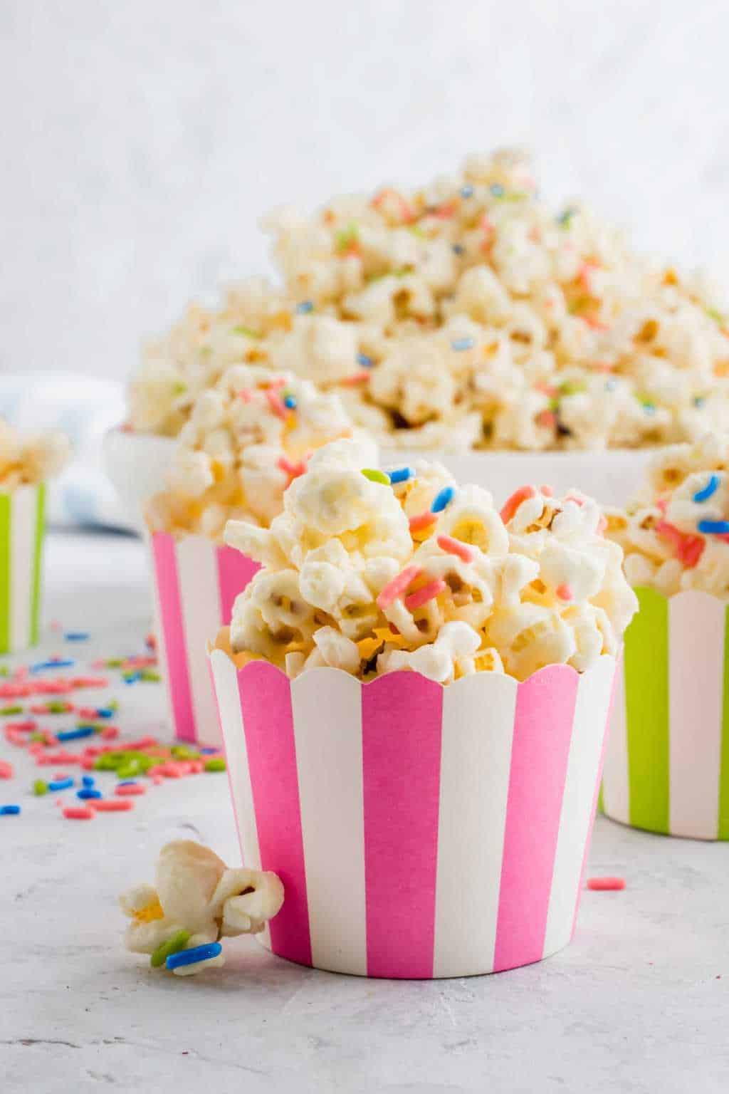 best white chocolate funfetti popcorn by top Houston lifesyle blogger Ashley Rose of Sugar and Cloth #recipes #entertaining #idea