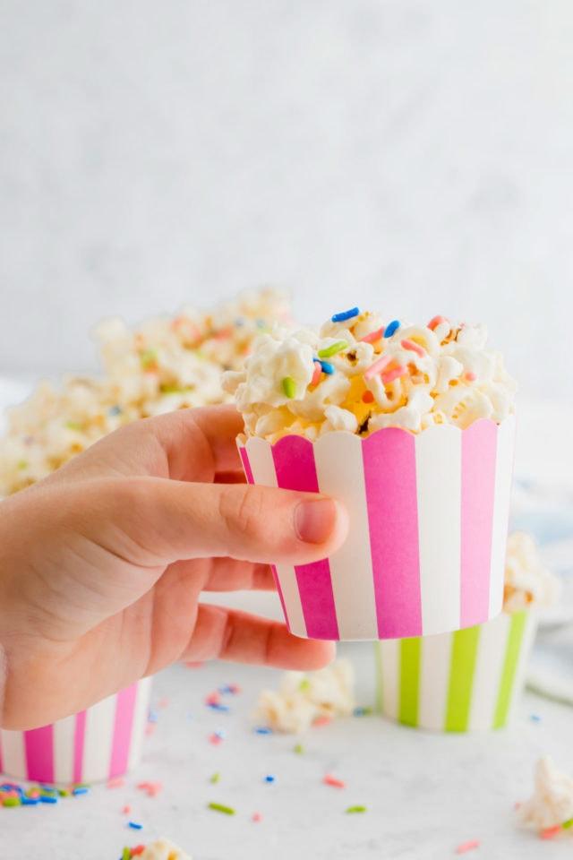 holiday white chocolate funfetti popcorn by top Houston lifesyle blogger Ashley Rose of Sugar and Cloth #recipes #entertaining #idea
